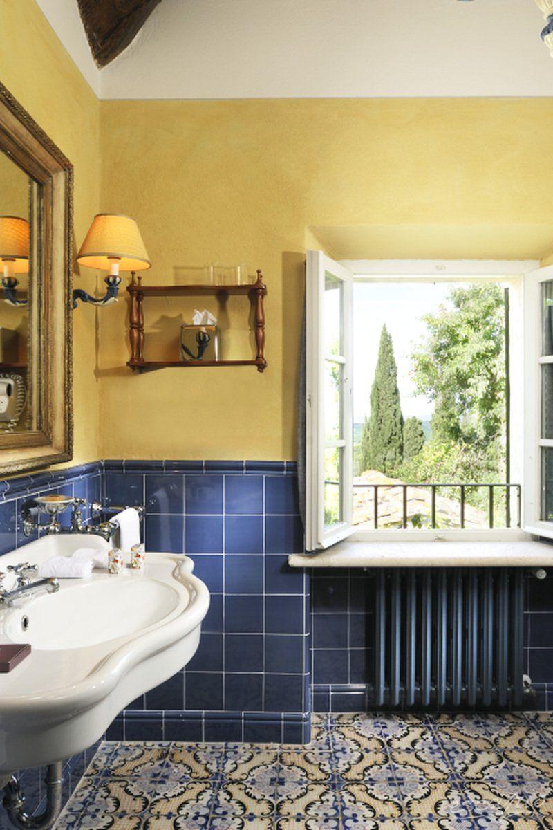 A Tuscan bathroom at hotel Borgo San Felice in Castelnuovo ...