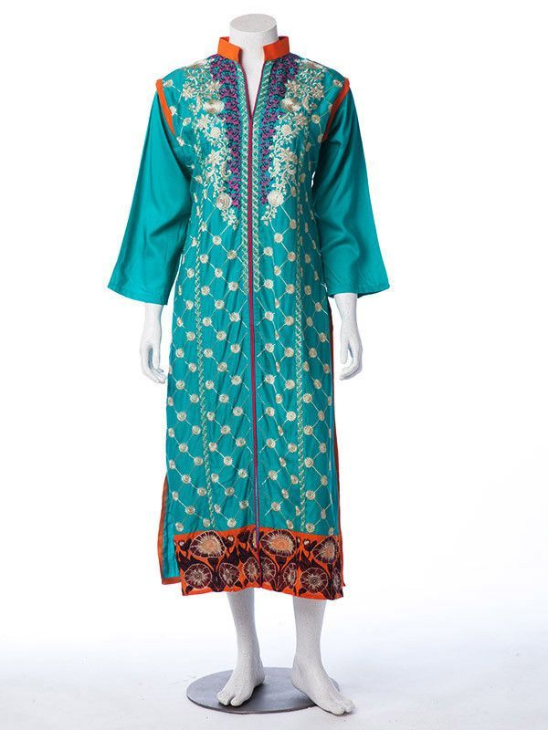 Blue Arabian Linen Shirt with white and multicolored floral embroidery