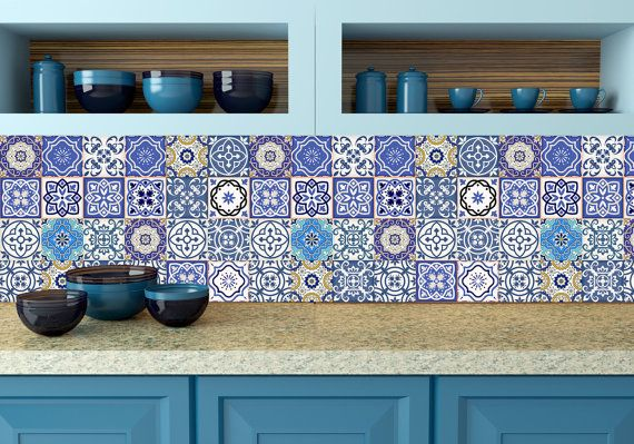 Set of 24 tiles decals tiles stickers mixed tiles for walls kitchen