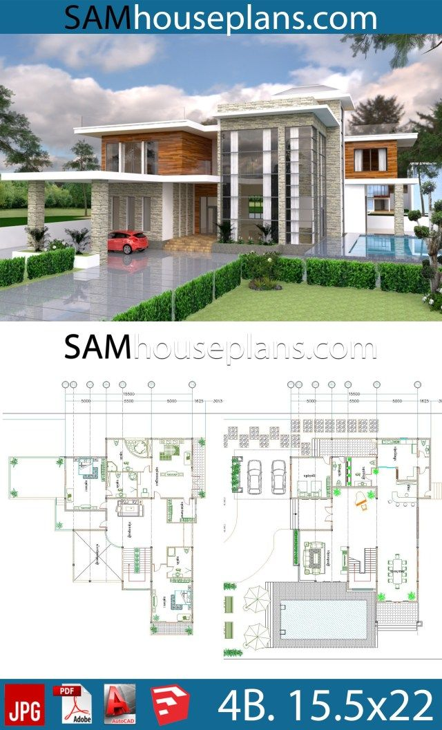 House Plans 15 5x22 With 4 Bedrooms Sam House Plans Beautiful House Plans House Plans Mansion House Plans