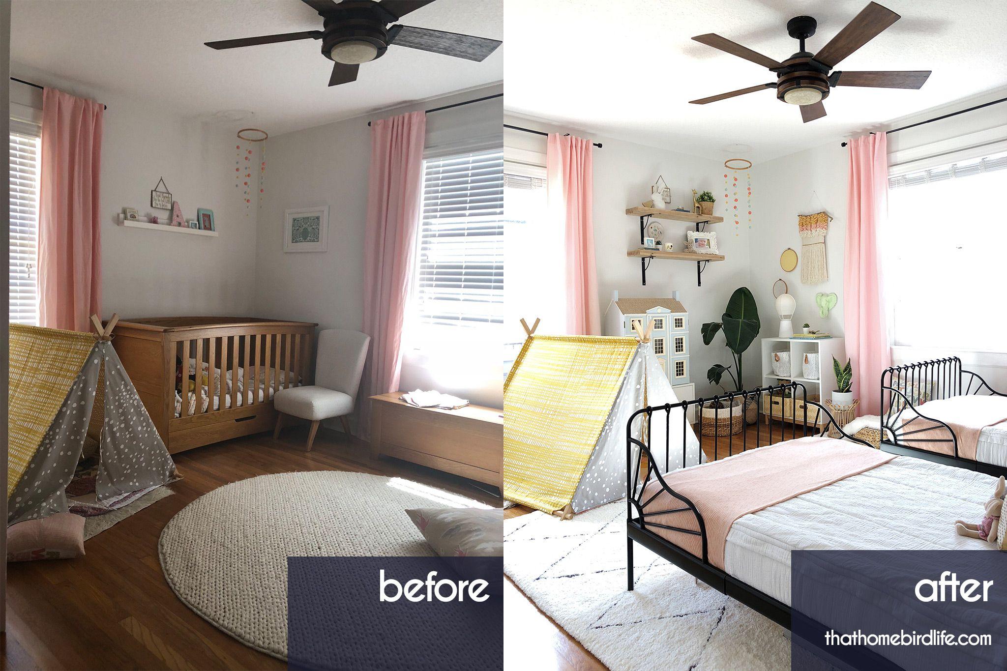 Girls Bedroom Reveal One Room Challenge Week Six Bedroom Makeover Before And After Girls Bedroom Shared Girls Bedroom