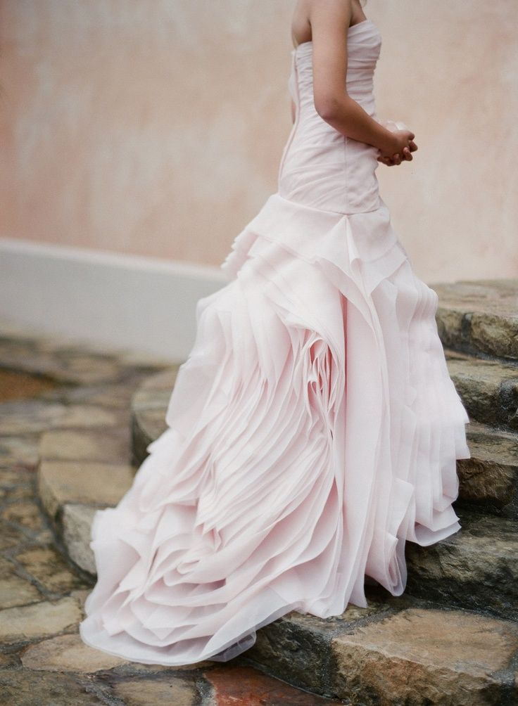 Gorgeous pale pink wedding dress.