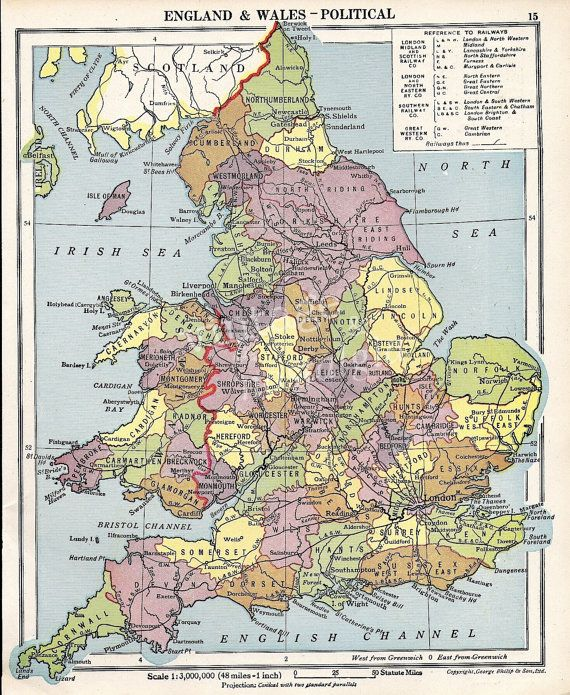 Map Of England Political.Antique England And Wales Map With Counties 1940s Uk Map Maps