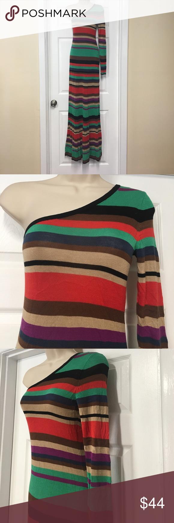 BCBG one shoulder multi color striped maxi dress Very beautiful and elegant multicolored striped maxi dress. One shoulder design thin sweater material. Perfect for any season. BCBGMaxAzria Dresses Maxi