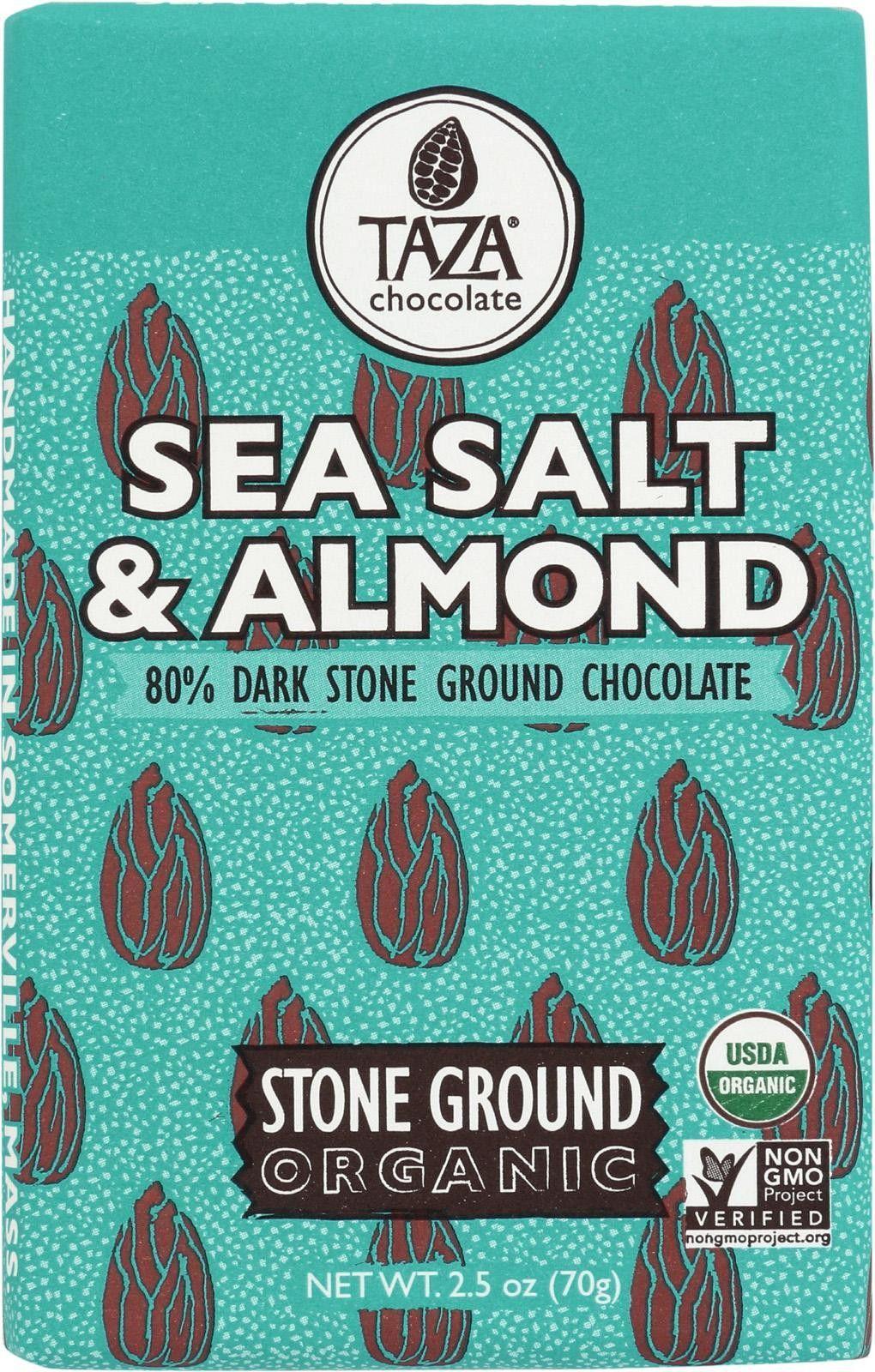 Taza Chocolate Stone Ground Organic Dark Chocolate Bar - Sea Salt And Almond - Case Of 10 - 2.5 Oz.