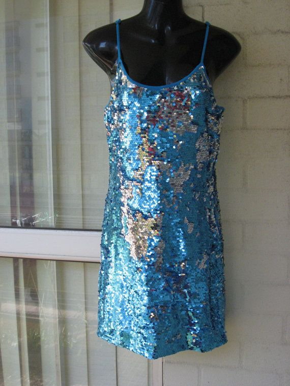 SALE..Vintage  Stunning Aqua Silver Fully Sequin Sparkly Glam Gatsby Flapper  Dress