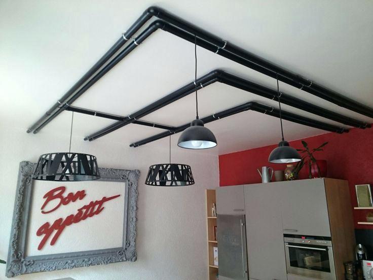 Cache Fil Luminaire Plafond Interesting Tuyaux Au Plafond De La Cuisine Pour Cacher Les Fils Lectriques Des Luminaires W Luminaire Plafond Plafond Deco Plafond
