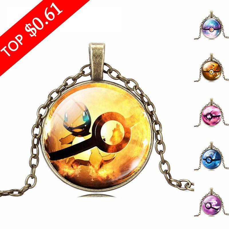 2017 New fashionable pokemon anime glass pendant necklace jewelry black