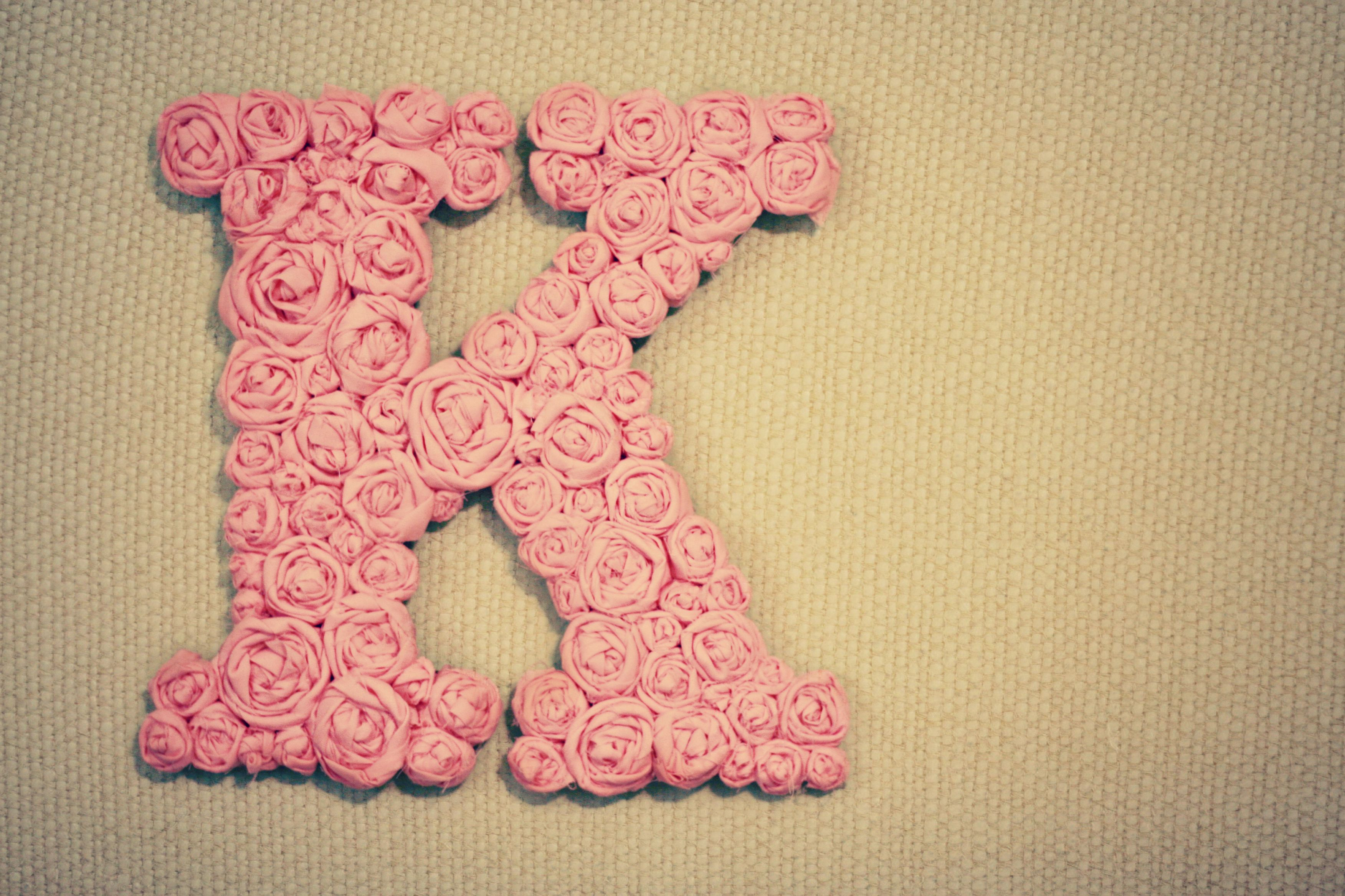 cardboard letter + cloth roses. i love this. | DIY | Pinterest ...