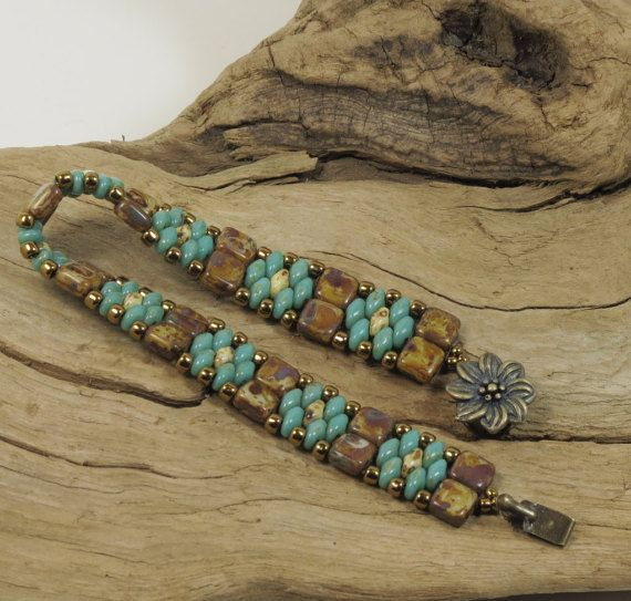 SUPERDUO CZECHMATE TILE Bracelet Turquoise by CinfulBeadCreations