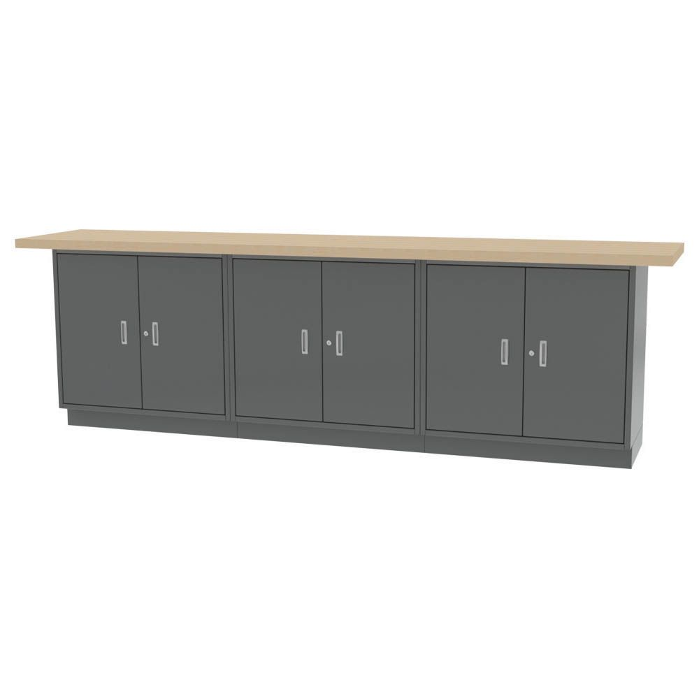 """WALL WORKBENCH - All welded construction. Overall size - 120""""l x 24""""d x 36.75""""h - ThreeDouble Door Base Cabinets w/ Adjustable Shelves."""
