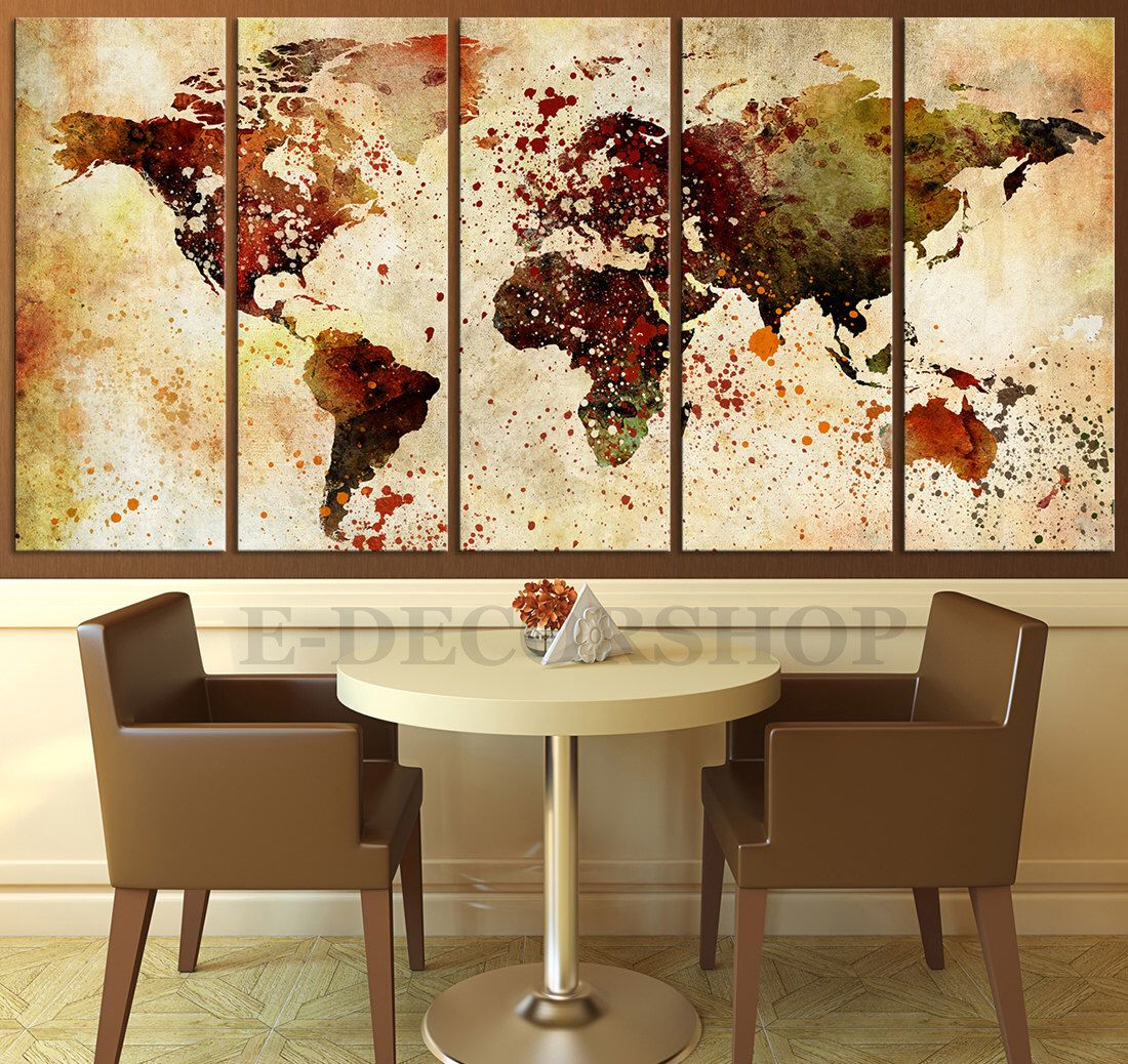 World map art watercolor ink splashed world map canvas print world map art watercolor ink splashed world map canvas print large wall canvas art gumiabroncs Choice Image