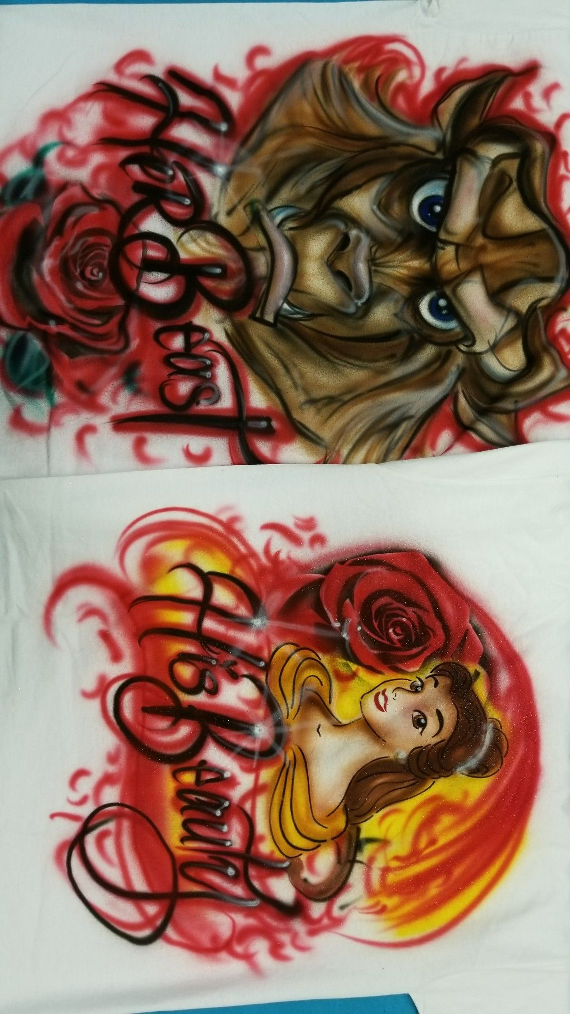 Cute Disney Beauty And Beast Airbrush Shirts Online His Beauty Her