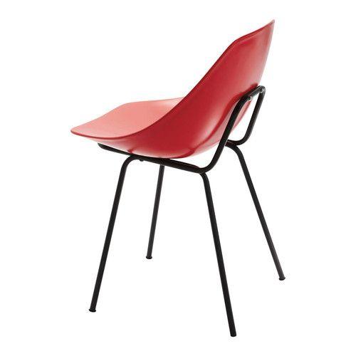 Chaise Guariche En Fibre De Verre Et Metal Rouge Coquillage Mobilier De Salon Chaise Fibre De Verre