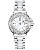 TAG Heuer Women's Swiss Formula 1 Diamond (3/4 ct. t.w.) Stainless Steel and White Ceramic Bracelet Watch 37mm WAH1215.BA0861