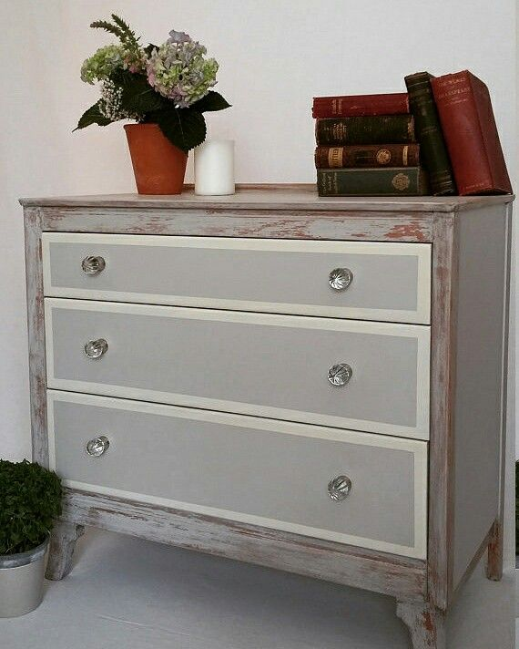 Best Rustic Chest Of Drawers Hand Painted In A Light Soft Grey 640 x 480
