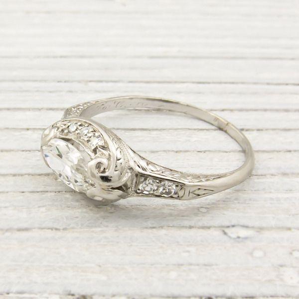 75 carat vintage marquise diamond engagement ring new york vintage antique estate jewelry - Wedding Rings Nyc
