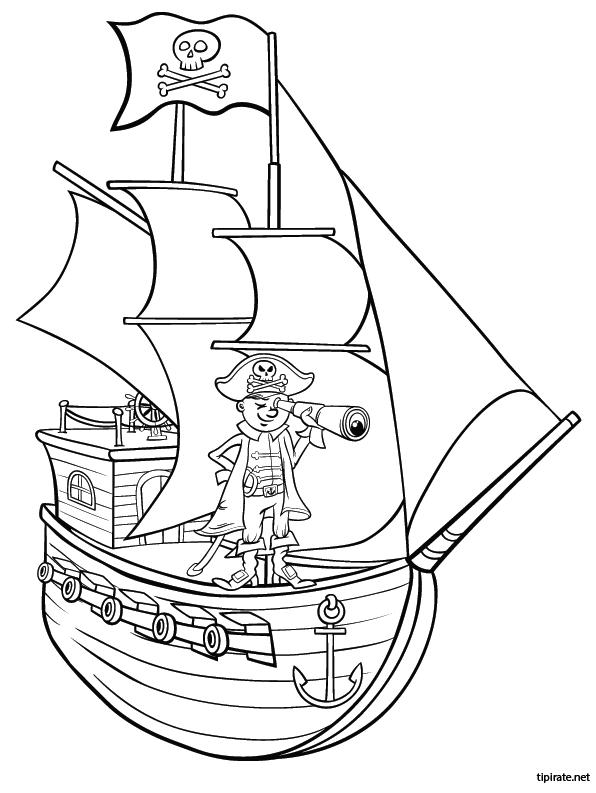 Coloriage Bateau Pirate Couleur.Le Bateau Pirate Dessin Piratas Dibujos Et Barco Pirata