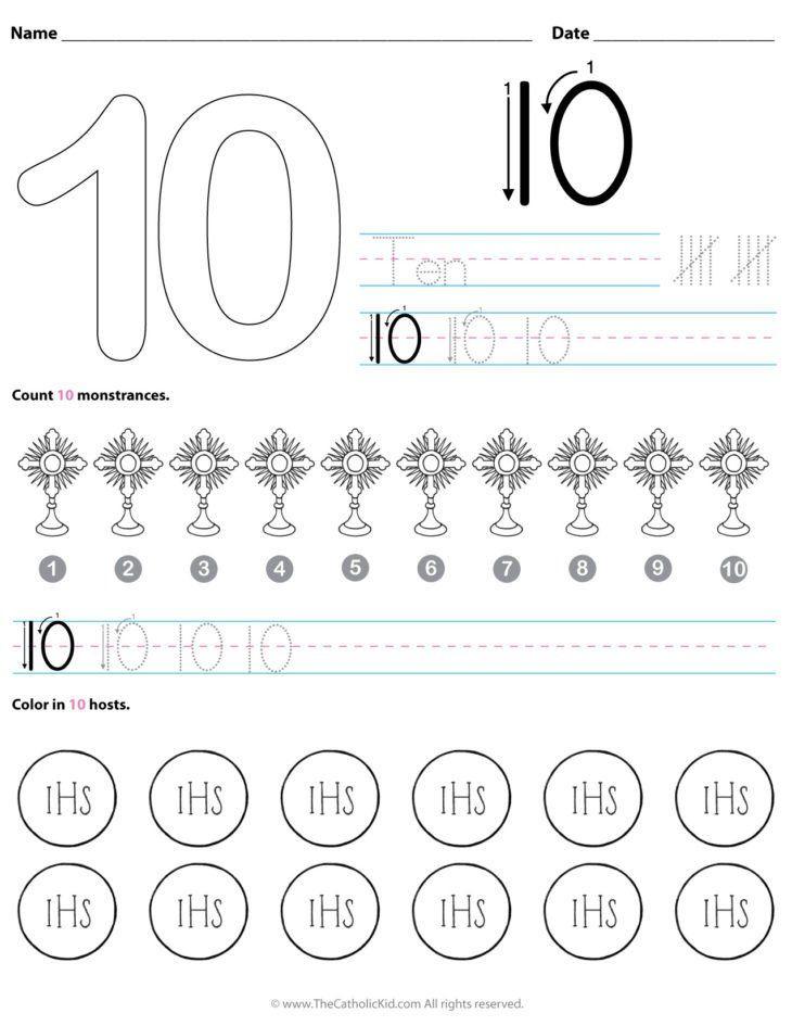 Number 10 Worksheets for Kindergarten Catholic Number 10