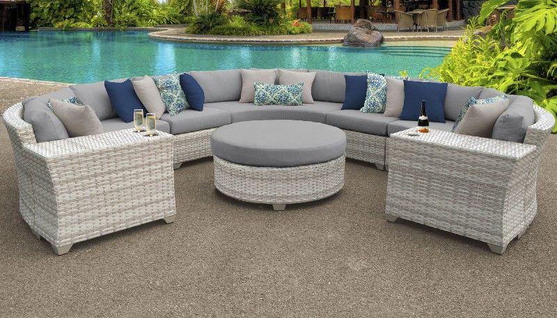 Fairmont 8 Piece Outdoor Wicker Patio Furniture Set 08b In Grey