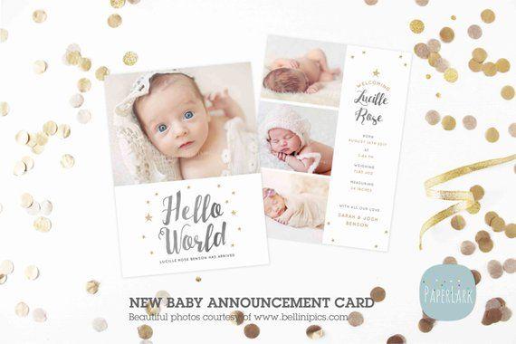 Newborn Baby Card Announcement - Photoshop Card template - AN009