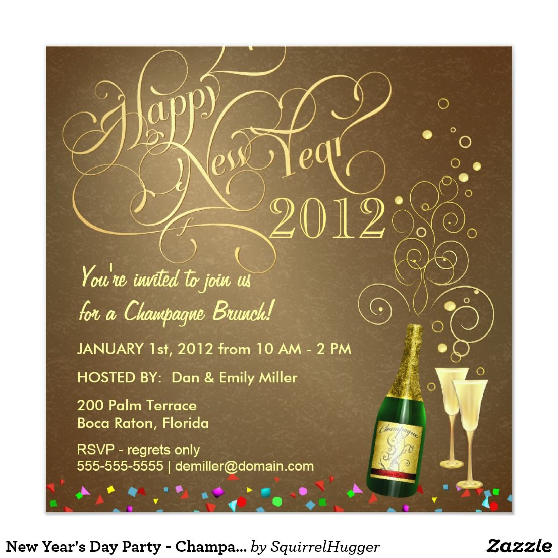 New Year's Day Party Champagne Brunch Invitation