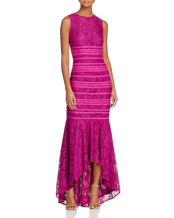 Js Collections Lace Illusion High/Low Gown