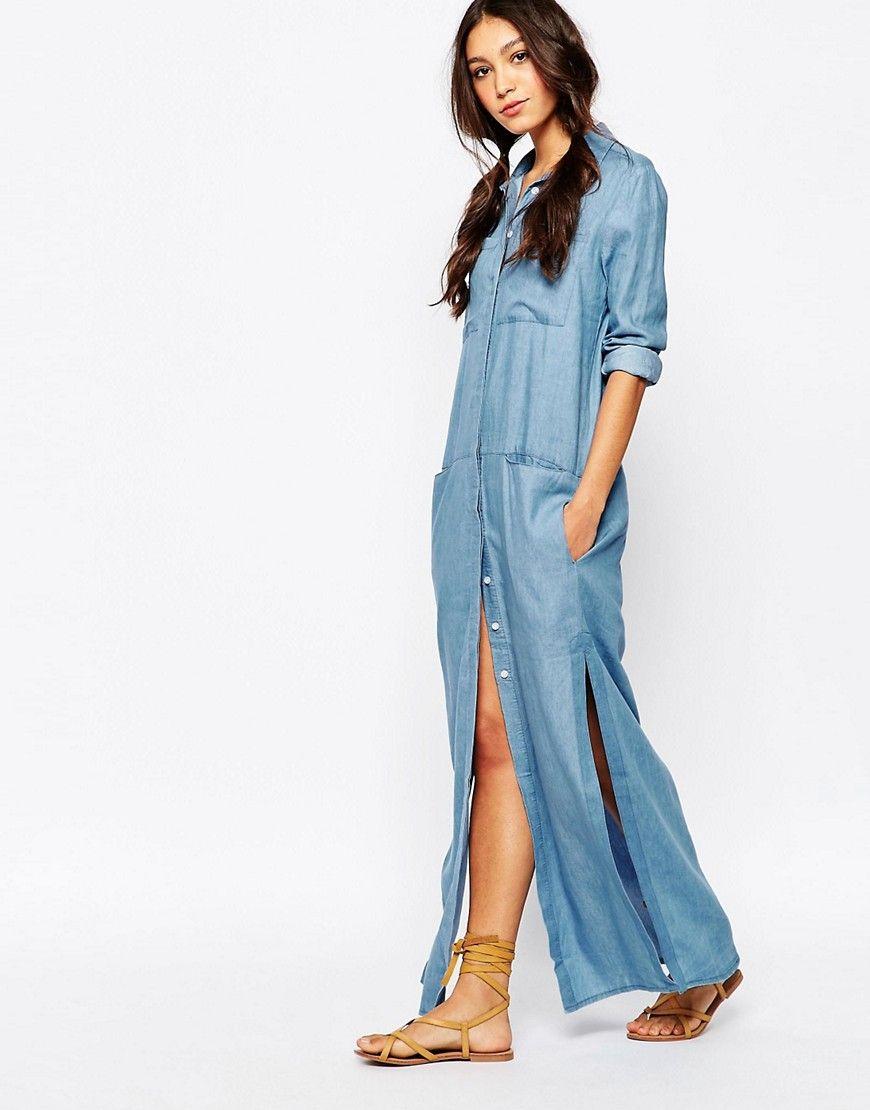 Long denim dress, Maxi shirt dress, Womens denim dress