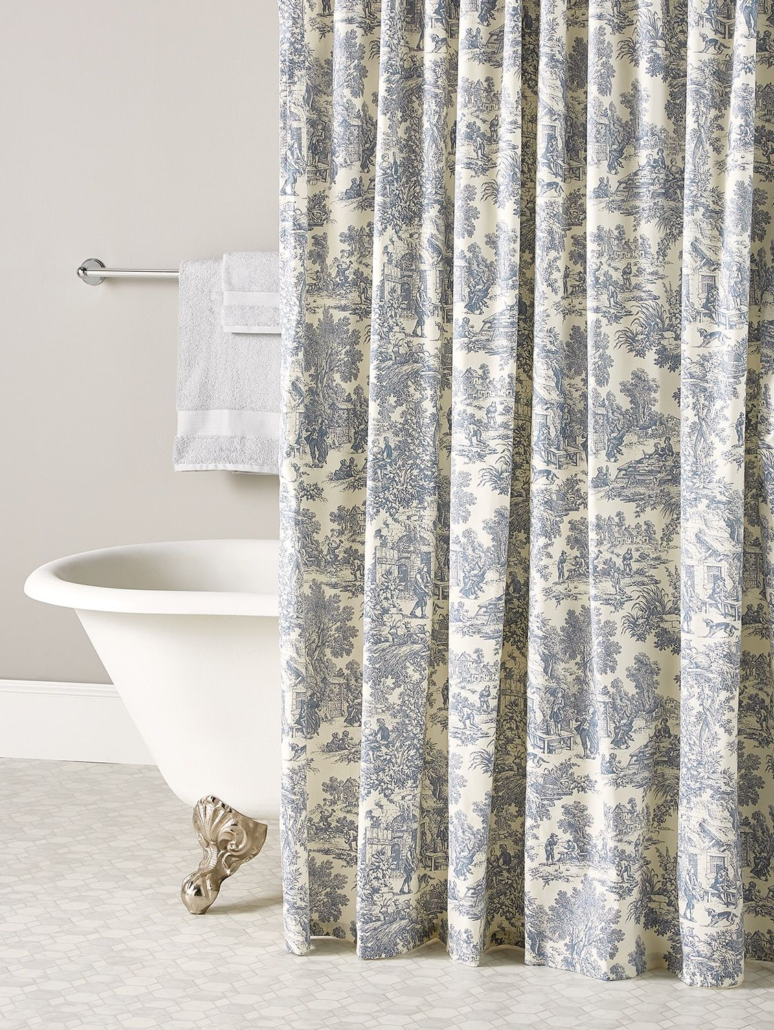 Essex Toile Shower Curtain French Country Bathroom Country