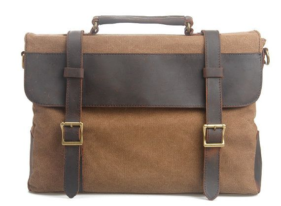 217c092f61fd $45.99 Canvas bag /BACKPACK Leather Briefcase / leather Messenger ...