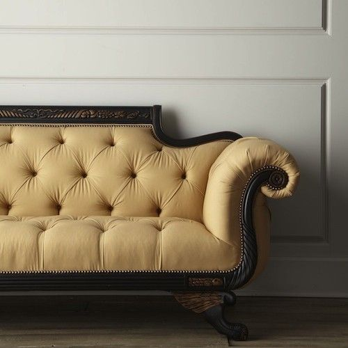 Old Hickory Tannery Lenoir Yellow Sofa: I Want My Duncan Phyfe Sofa Tufted On The Back Like This
