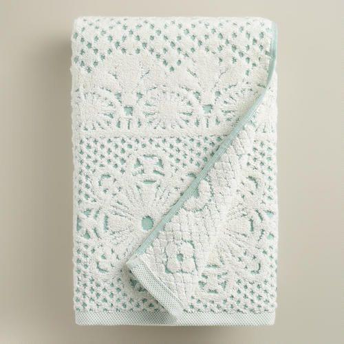 One of my favorite discoveries at WorldMarket.com: Aqua and Ivory Lattice Sculpted Bath Towel - SO BEAUTIFUL!