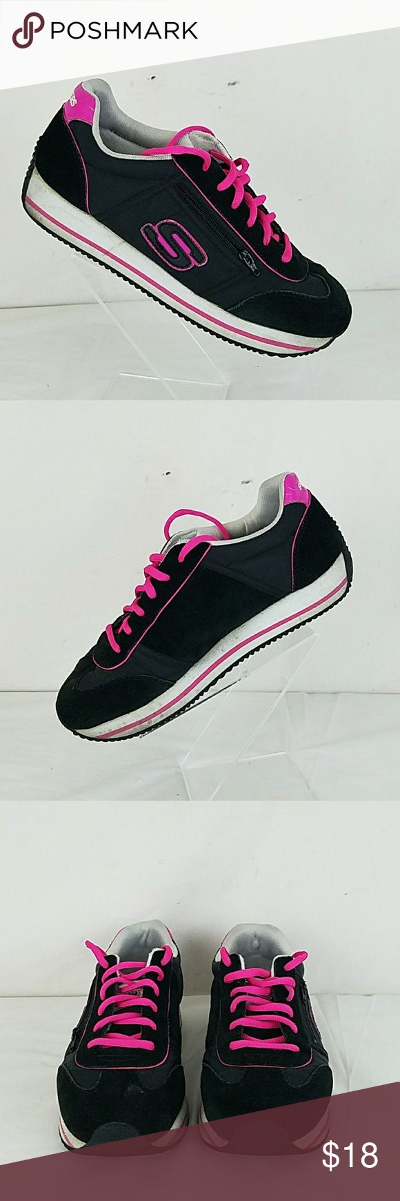 SKECHERS LEATHER & TEXTILE SIZE 7.5  ATHLETIC SHOES  PREOWNED