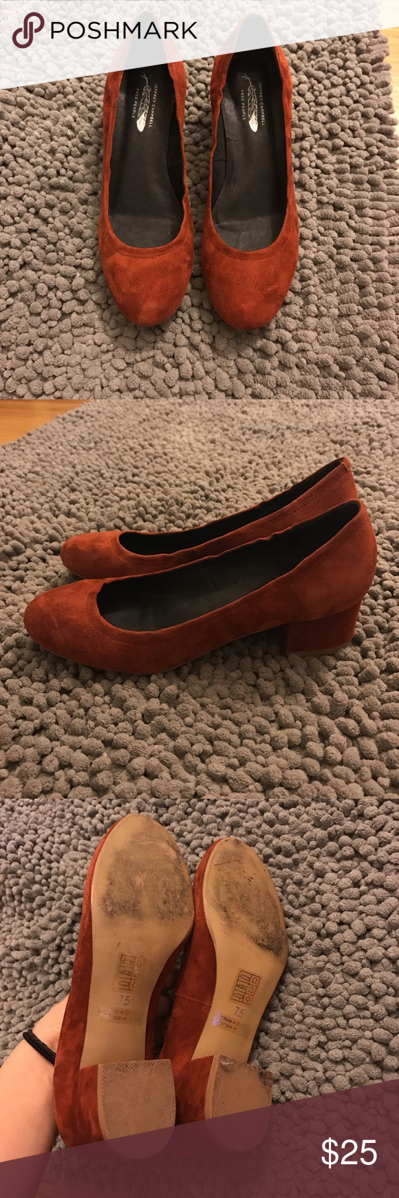 52b9becd160 Jeffrey Campbell Bitsie heels in rust suede. Size 7.5 but best fits a size  7. Worn once only. 2