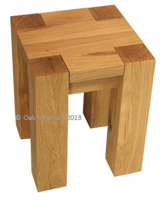 Denver stool / lamp table - solid oak lamp tables.