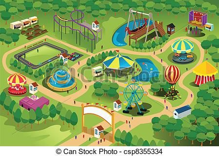 Vector Amusement Park Map Stock Illustration Royalty Free Illustrations Stock Clip Art Icon Stock Clipart Drawing For Kids Theme Park Map Amusement Park