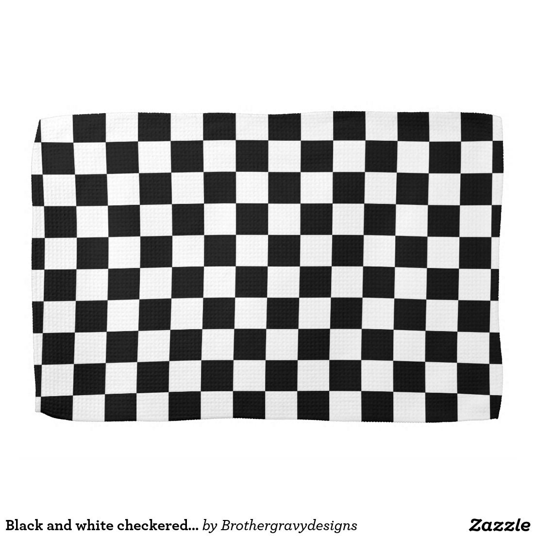 Black And White Checkered Pattern Kitchen Towel Zazzle Com With Images Towel Pattern Checkered Pattern Patterned Hand Towels