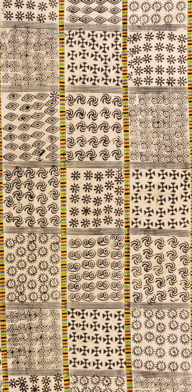Africa Adinkra Cloth From Ghana Block Printed In Varied