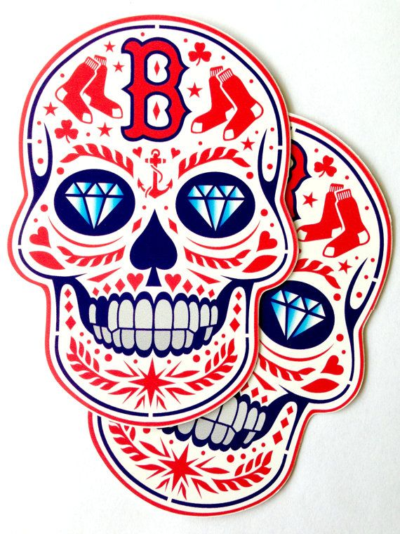Boston Red Sox Bos Calavera Vinyl Sticker By