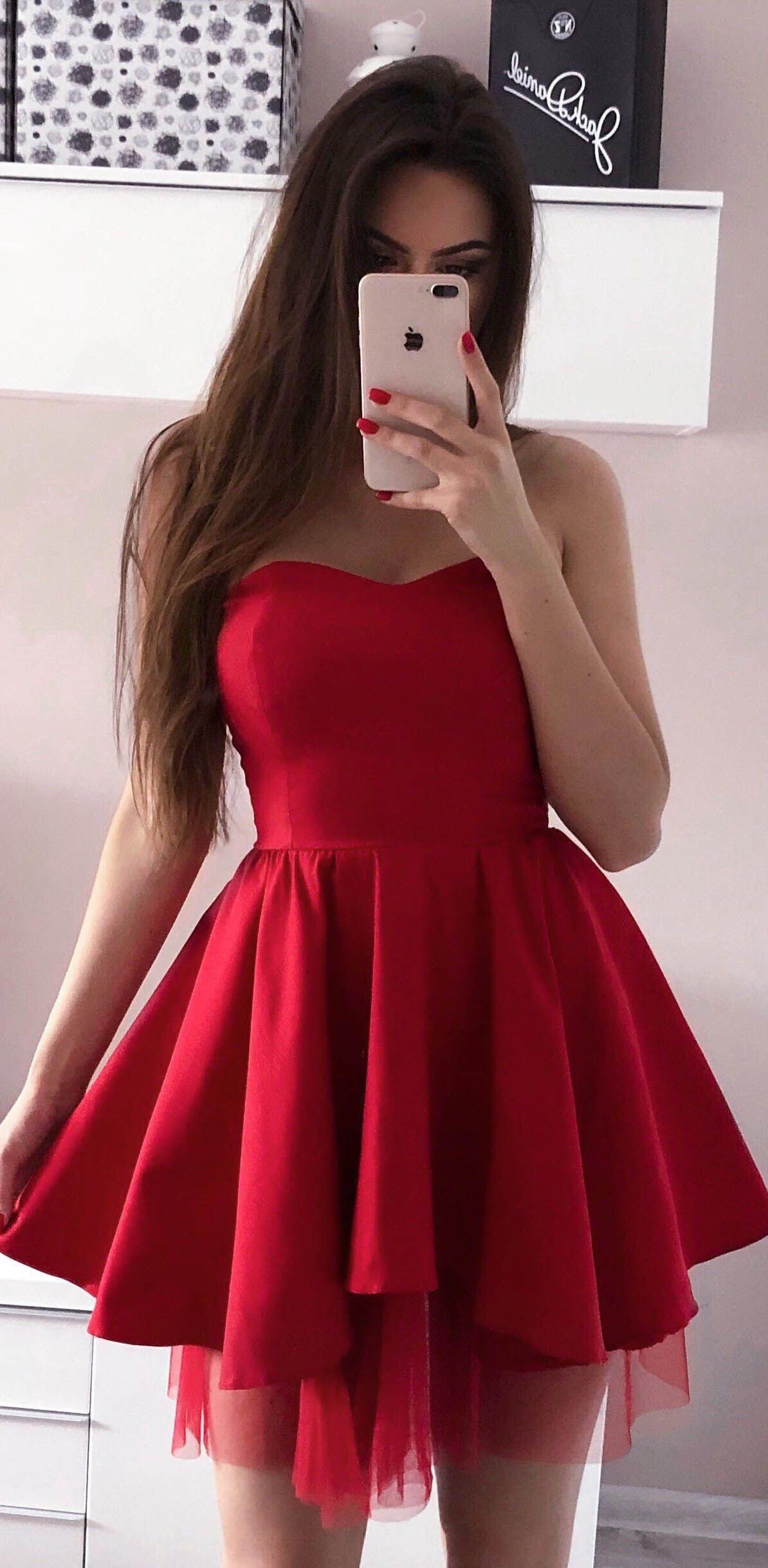 Simple hoco dressesred homecoming dresses sweetheart neck short