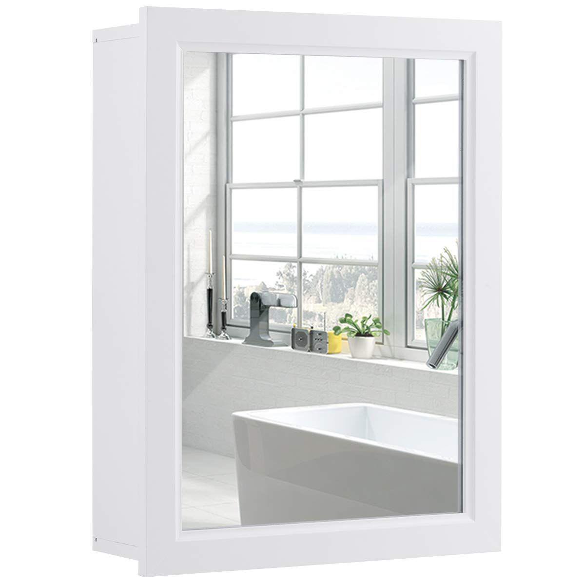 Tangkula Mirrored Bathroom Cabinet, Wall Mount Storage ...