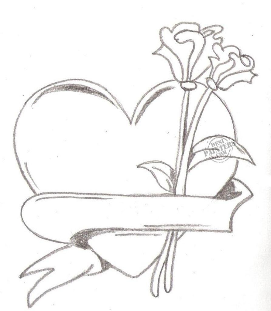 892x1024 Pencil Sketch Of Cute Heart Heart Love Drawing ...
