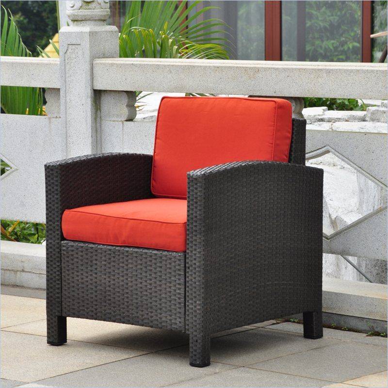 International Caravan Barcelona Patio Chair In Black And Spice Contemporary Patio Lounge Chair Outdoor Patio Chairs