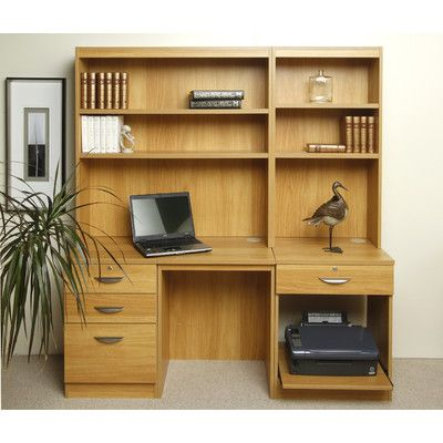 Enduro Home Office Desk Workstation With Pedestal Printer Storage And Inbuilt Bookshelves Wayfair Uk Home Office Furniture Sets Home Desk