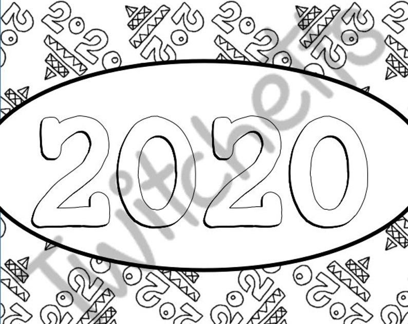 2020 Happy New Years Coloring Pages New Years Eve Coloring Etsy