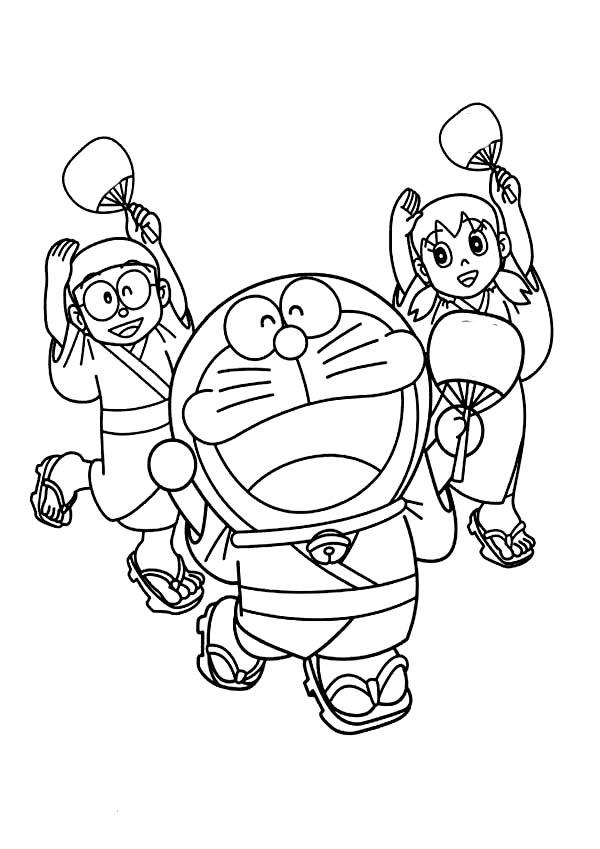 Nobita Shizuka And Doraemon Wearing Yukata Dance Together Coloring Pages Netart Coloring Pages Doraemon Coloring Books