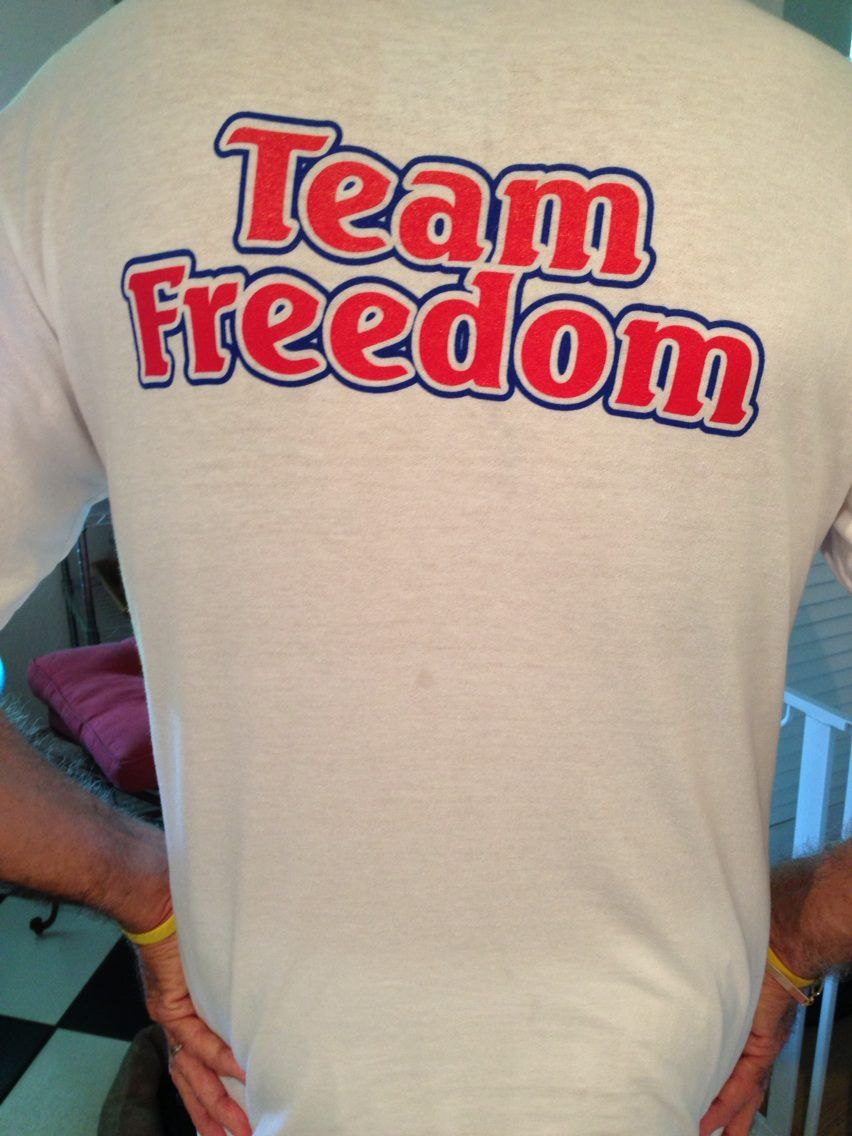 Back of Tshirt. Freedom spent 11 days at Blue Pearl Tampa