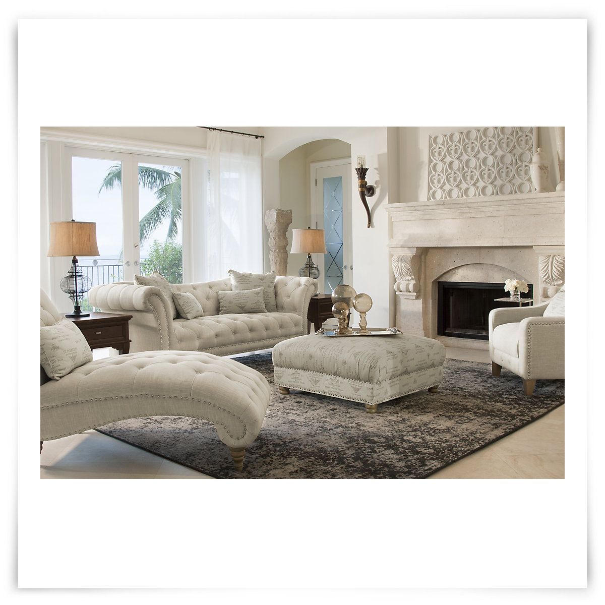 City Furniture Hutton Lt Taupe Linen Living Room
