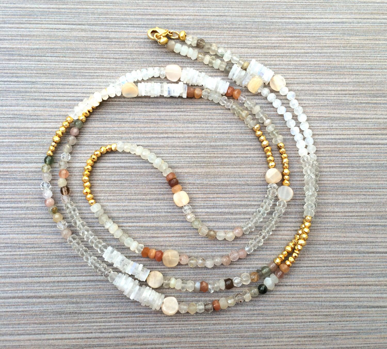 Boho Long Beaded Necklace - Moonstone Gold Pyrite Semi Precious Gemstone Layering Beadwork Necklace, Bohemian Necklace, Gift by loveandlulu by LoveandLulu on Etsy https://www.etsy.com/listing/249490546/boho-long-beaded-necklace-moonstone-gold
