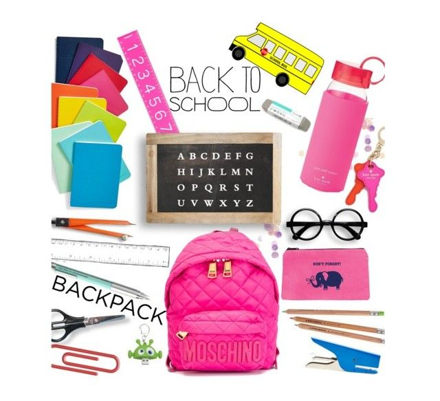 """#backtoschool #schoolsupplies"" by rafimali ❤ liked on Polyvore featuring interior, interiors, interior design, casa, home decor, interior decorating, Topshop, Moschino, poppin. e Kate Spade"
